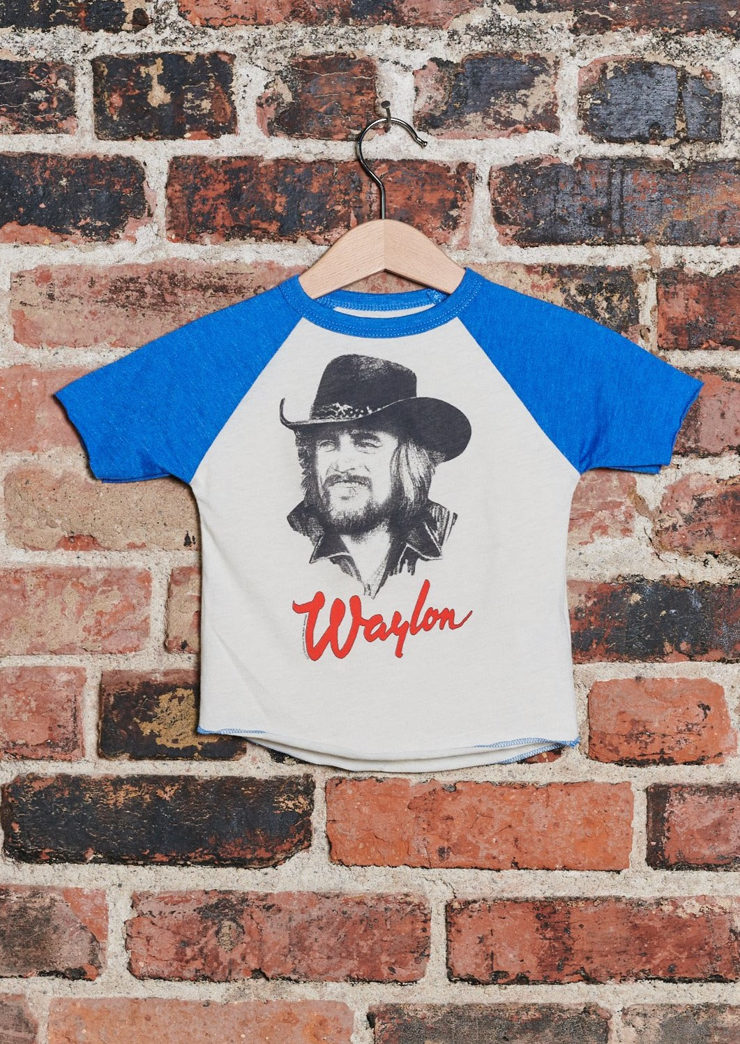Waylon Jennings Portrait  Kid's Baseball Tee