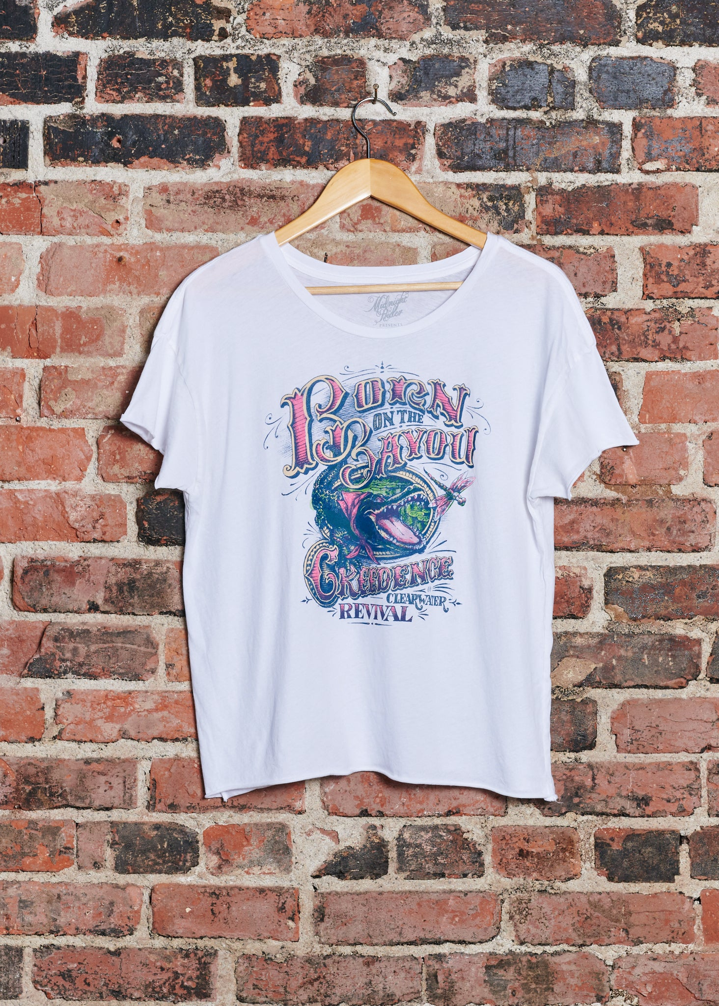 Born on the Bayou Women's Cut-off - Dirty White