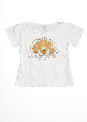 What You Put Into Life Boyfriend Tee - Bright White