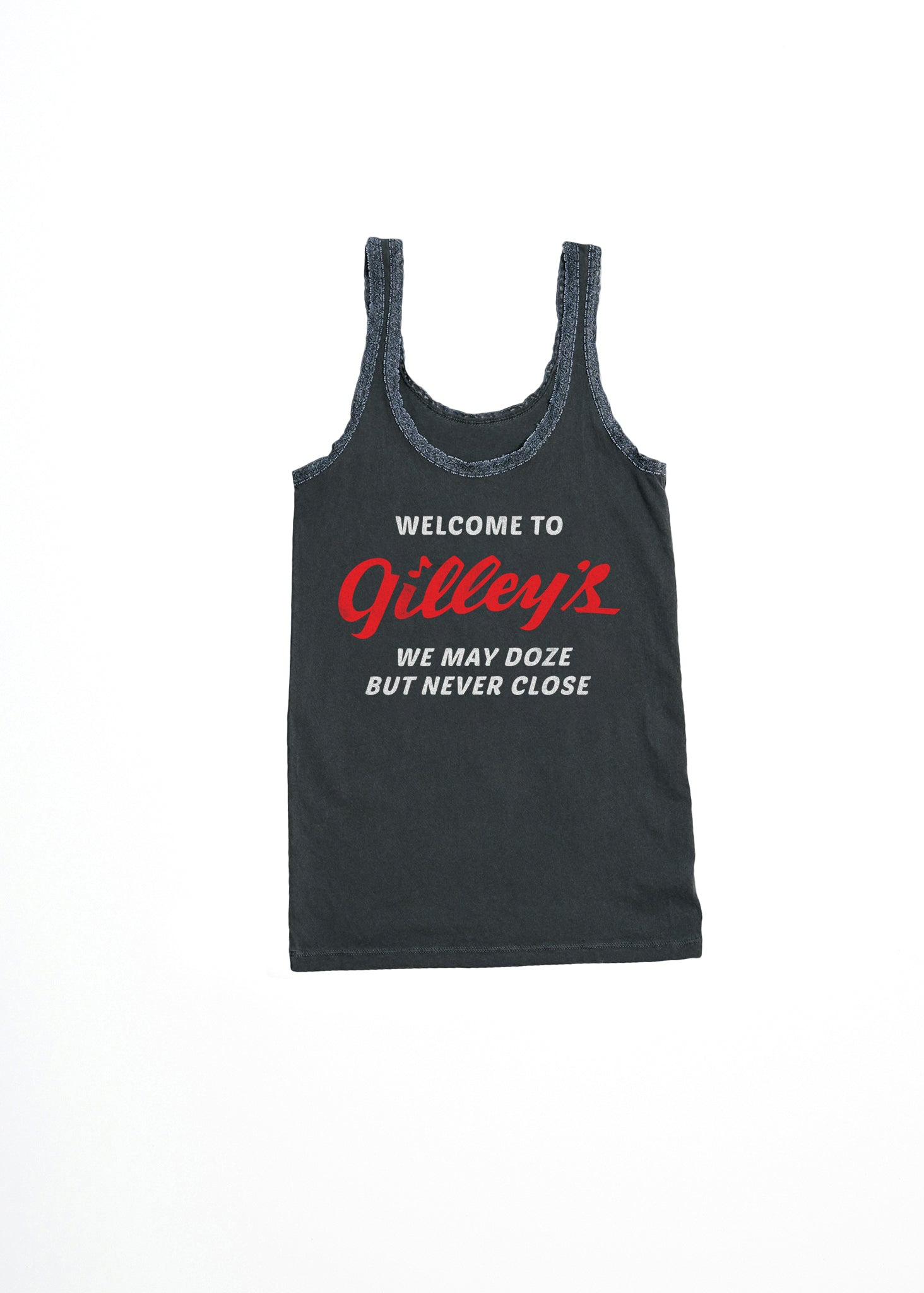 GILLEY'S NEVER CLOSE LACE TANK - VINTAGE BLACK - Women's Tee Shirt - Midnight Rider