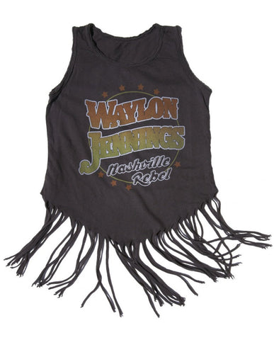 Waylon Jennings Nashville Rebel Fringe Kids Tank - Vintage Black - Kid's Tee - Midnight Rider