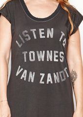 Listen to Townes Van Zandt - Women's Tee Shirt Dress - Vintage Black