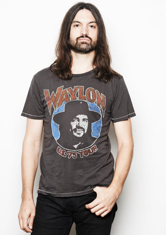 Waylon US 75 Tour Men's Crew - Vintage Black - Men's Tee Shirt - Midnight Rider