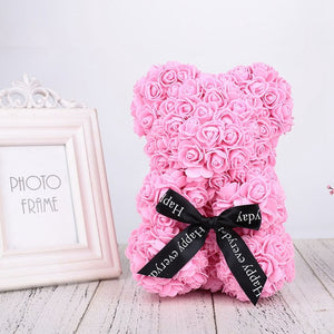 Cutest Gift  - Romantic Rose Bear w/ Bow - Love Jewellery Official