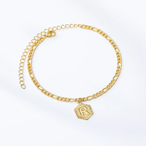 80% OFF VALENTINE'S DAY SALE - 18k GOLD INITIAL LETTER ANKLET - Love Jewellery Official