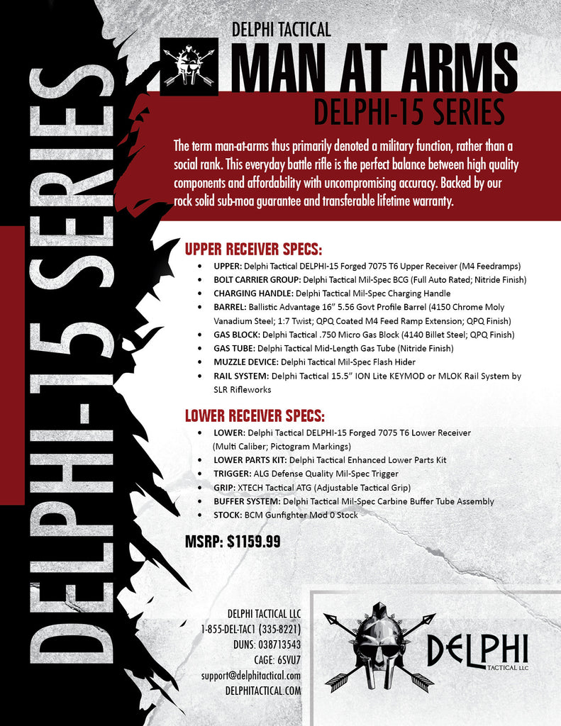 "Delphi Tactical DELPHI-15 ""Man At Arms"" Rifle Spec Sheet-Back"