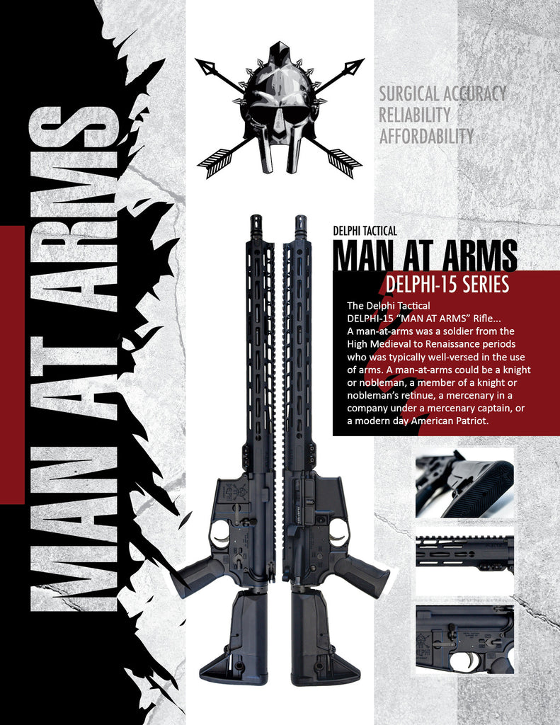 "Delphi Tactical DELPHI-15 ""Man At Arms"" Rifle Spec Sheet-Front"