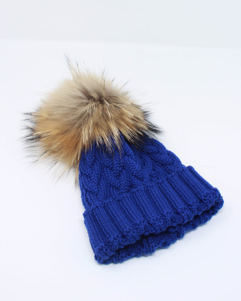 "<b>Lindo F</b><br><font size = ""+1"">Cable Knit Hat - Blue Jay Blue</font>"