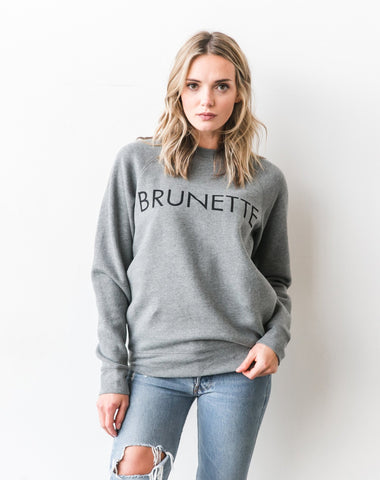 "</b> Brunette the Label<br><font size = ""+1"">Brunette Crew - Grey</font>"