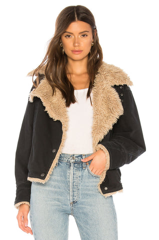 "<b>Free People</b> <br><font size = ""+1"">Sherpa Denim Jacket</font>"