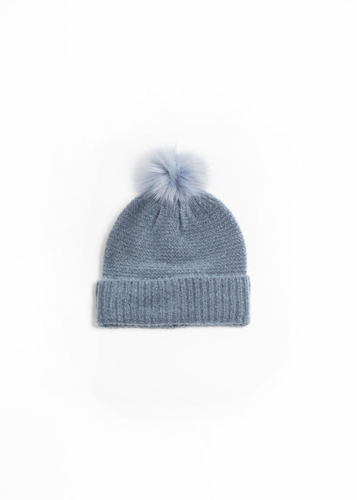 "<b></b><br><font size = ""+1"">Knit Pom Pom Hat - Denim</font>"