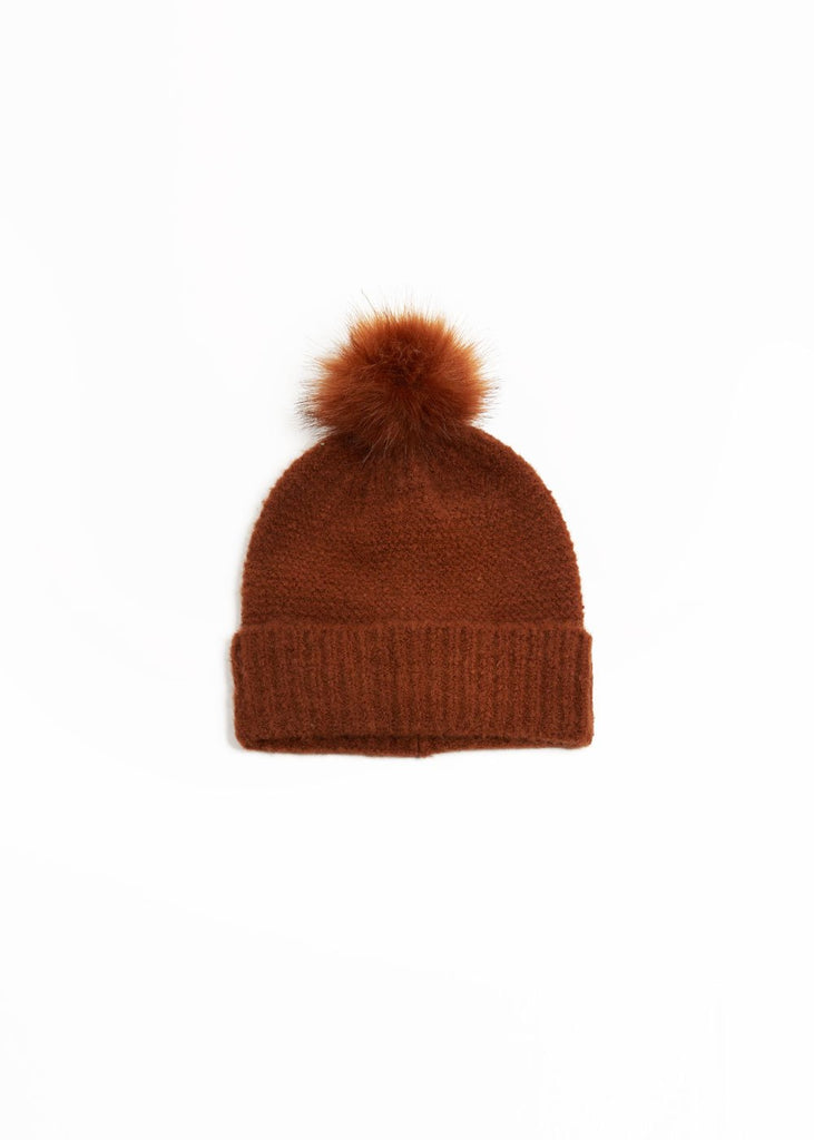 "<b></b><br><font size = ""+1"">Knit Pom Pom Hat - Wood</font>"
