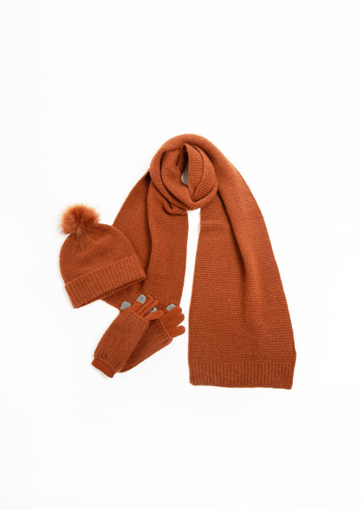 "<font size=""+1"">Striped Knit Scarf - Wood</font>"