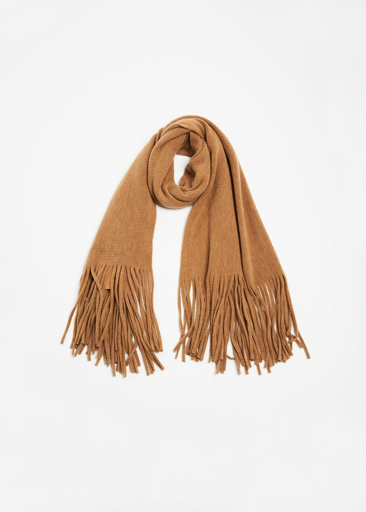 "<font size=""+1"">Blushed Long Fringe Scarf - Camel</font>"