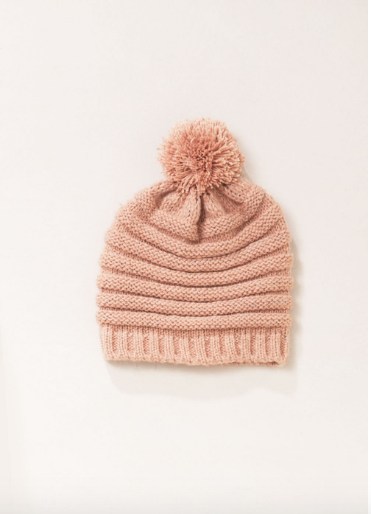 "<font size=""+1"">Ribbed Knit Hat - Blush</font>"