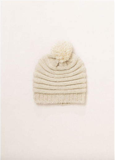 "<font size=""+1"">Ribbed Knit Hat - Ivory</font>"