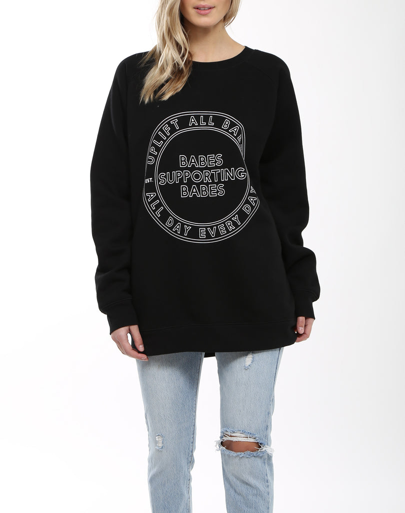 "</b> Brunette the Label<br><font size = ""+1"">Oversized Babes Varsity Logo - Black</font>"