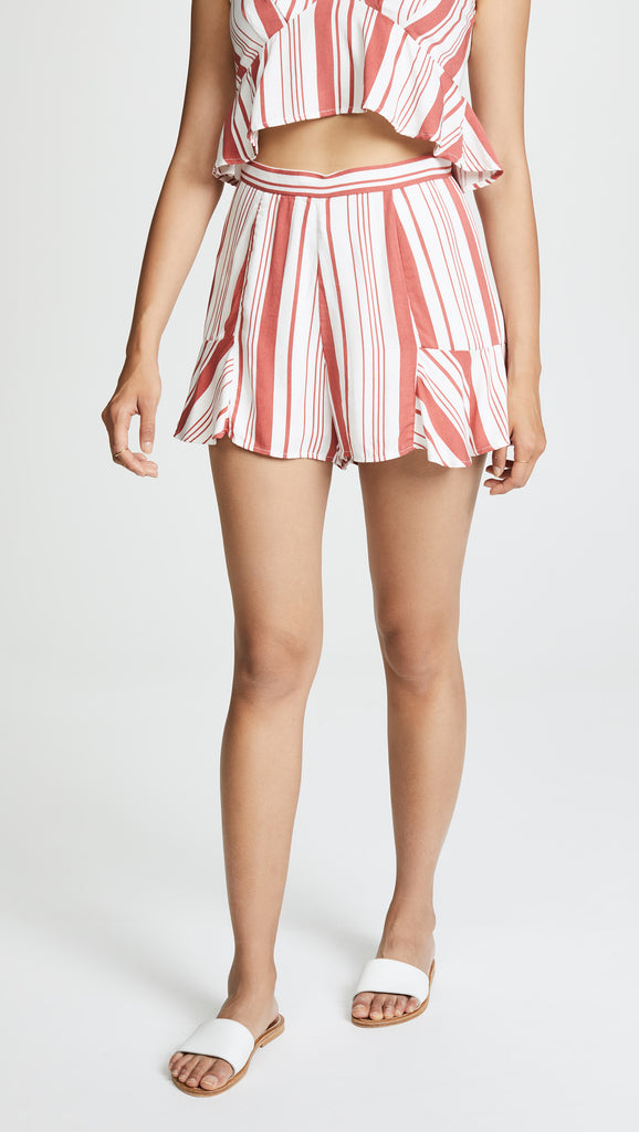 "</b>MINKPINK<br><font size=""+1"">Stripe Fluted Shorts</font>"