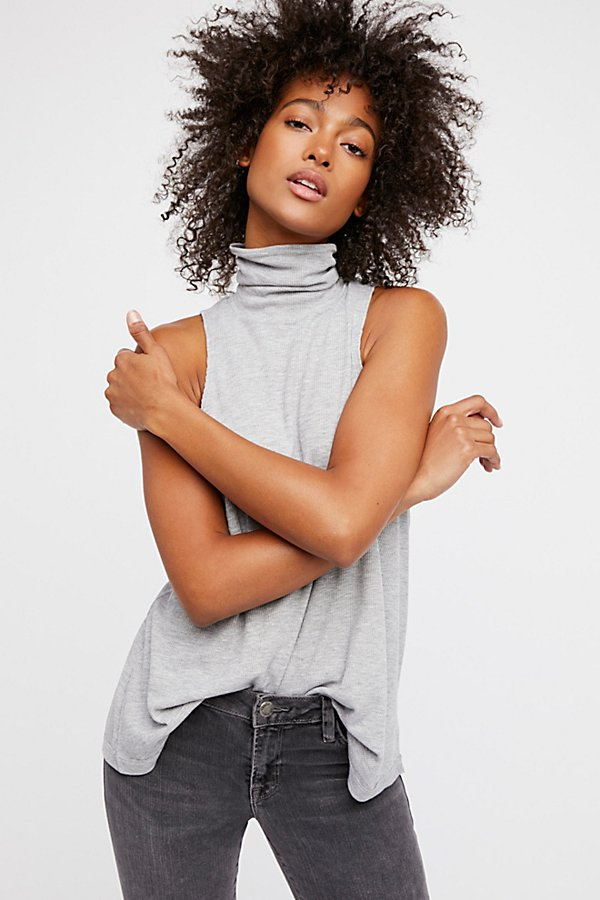 "<b>Free People</b> <br><font size = ""+1"">Ribbed Sleeveless Turtleneck</font>"