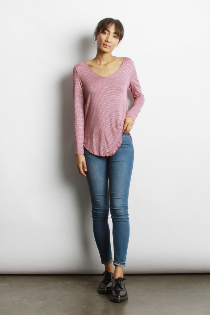 "</b><br><font size = ""+1"">Everyday Long Sleeve - Pink Stripe</font>"