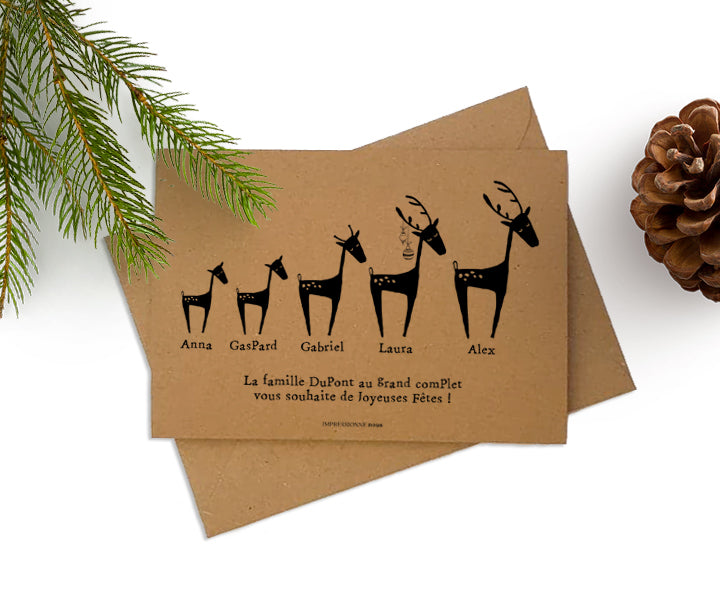 Carte de voeux Deer Family