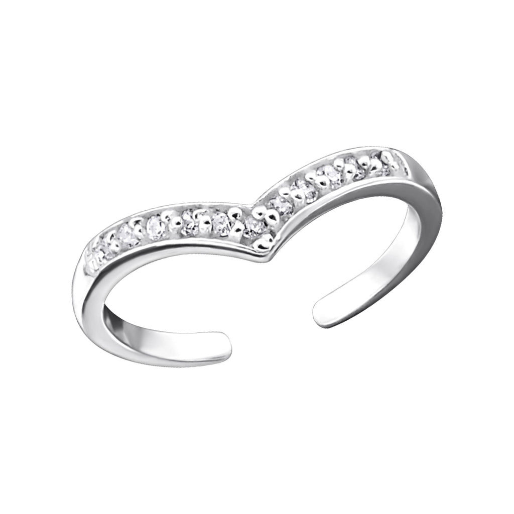 Sterling Silver CZ Cubic Zirconium Flower Adjustable Ring or Toe Ring