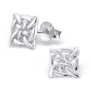 7mm Round Celtic Stud Earrings 925 Sterling Silver Knot Celtic Earrings