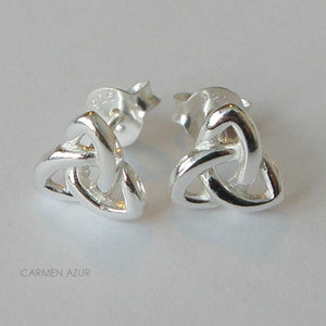 Gift Bag 18ct Gold on Sterling Silver Stud Earrings Celtic Knot Triquetra New