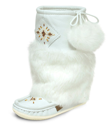 Laurentian Chief White Leather Mukluks 13