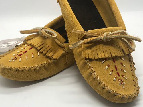 Laurentian Fringed & Hand Beaded Inside Moccasins - No Lining