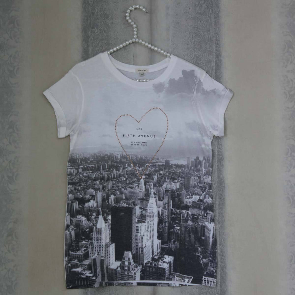 White fifth avenue t-shirt