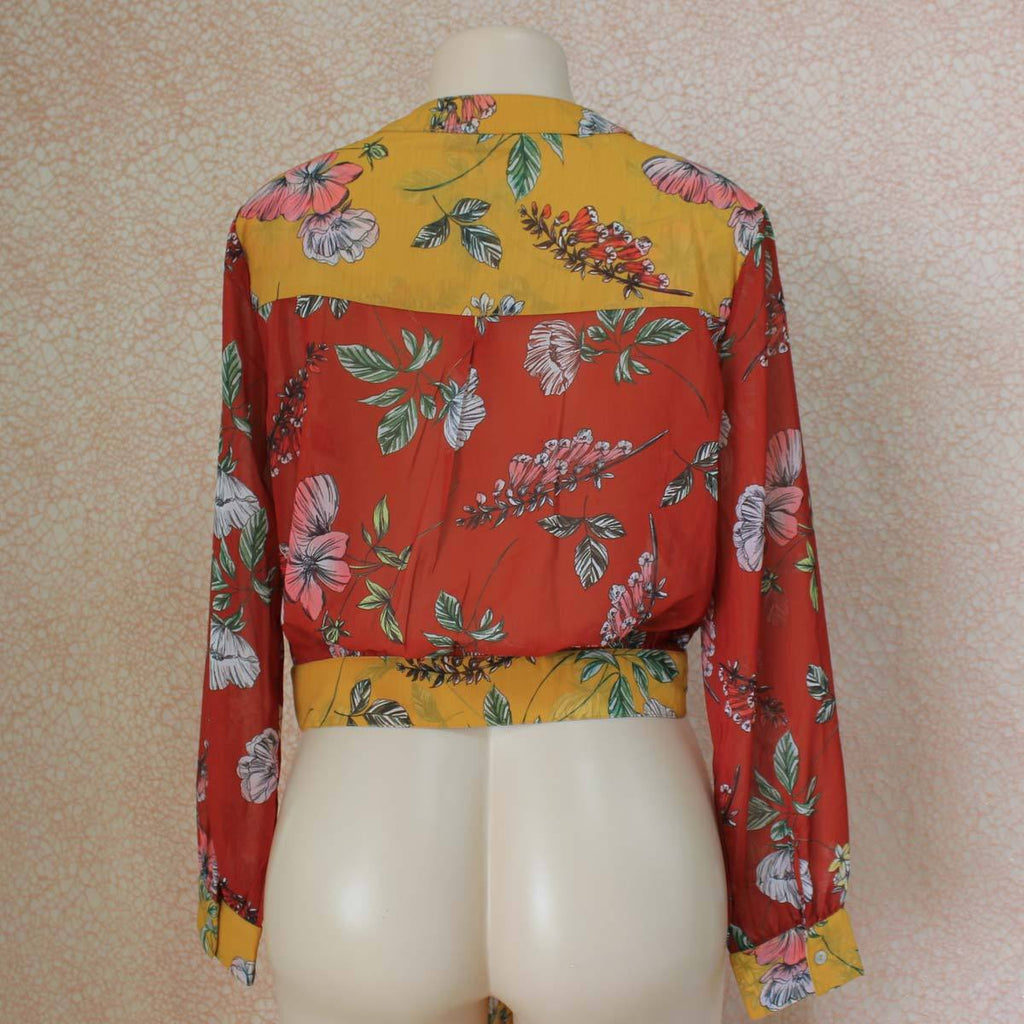Orange yellow floral print blouse