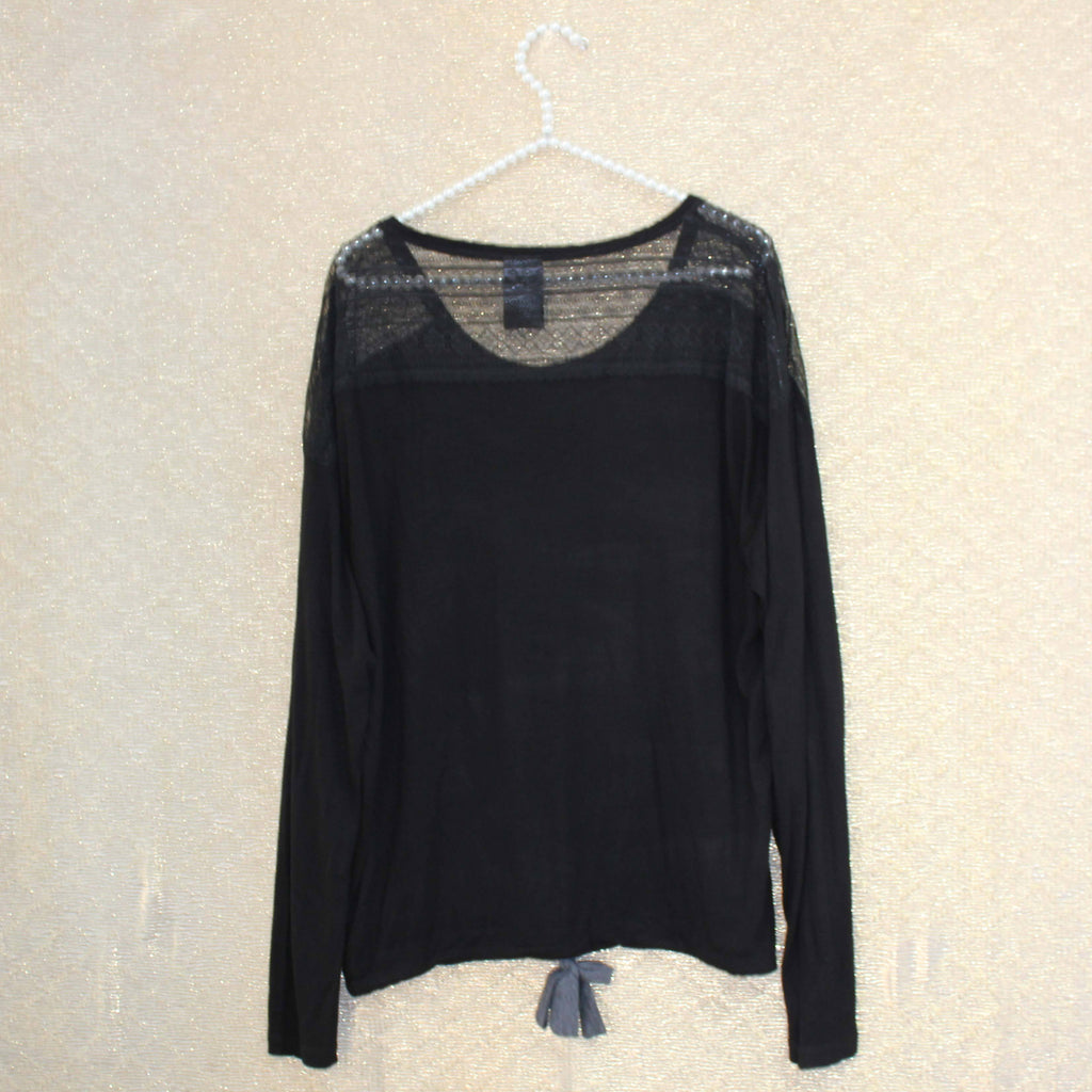 Black back net embroidery top