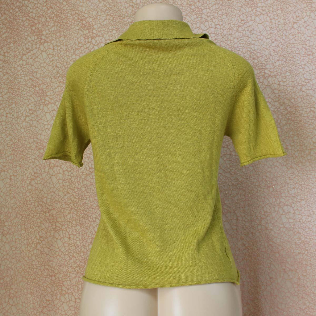 Green v-neck two button top