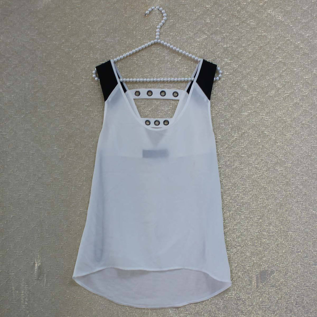 White parallel crossed back top