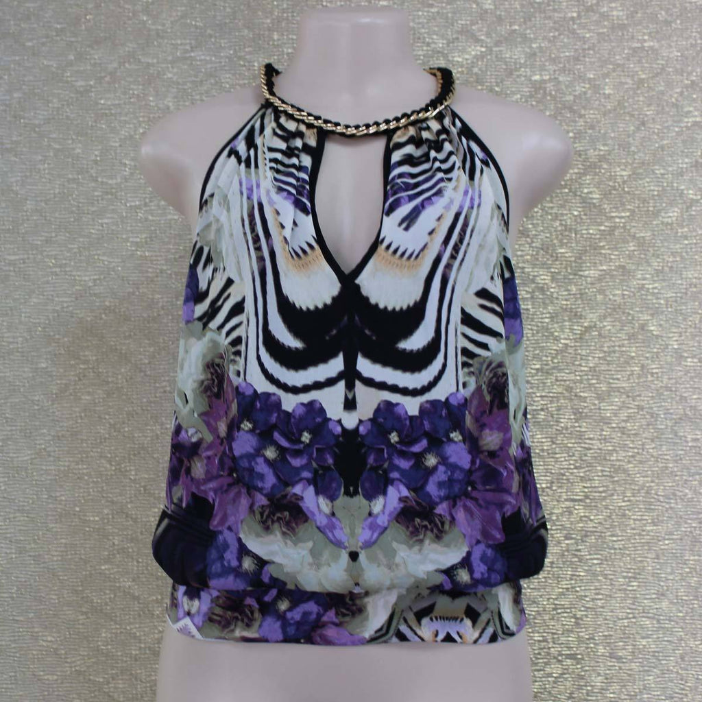 White purple floral top