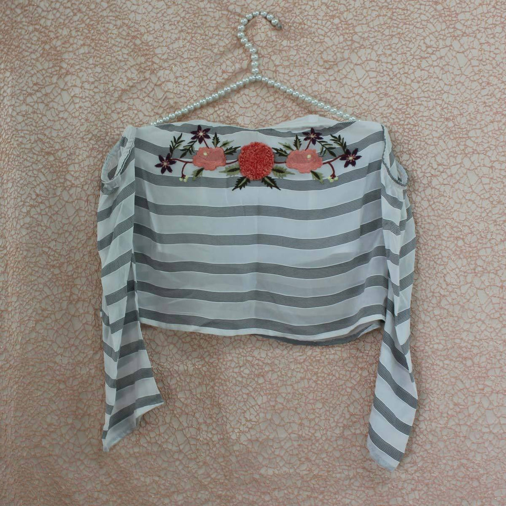 White grey cold shoulder top