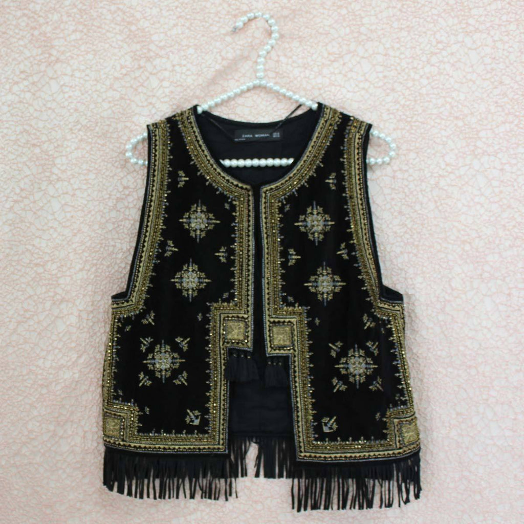 Black embroided jacket top