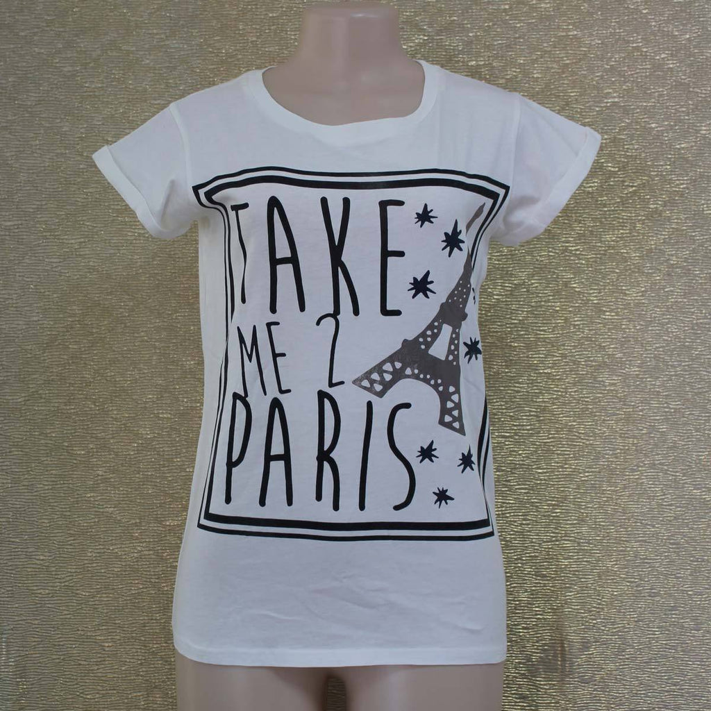 Cream white take me to paris t-shirt