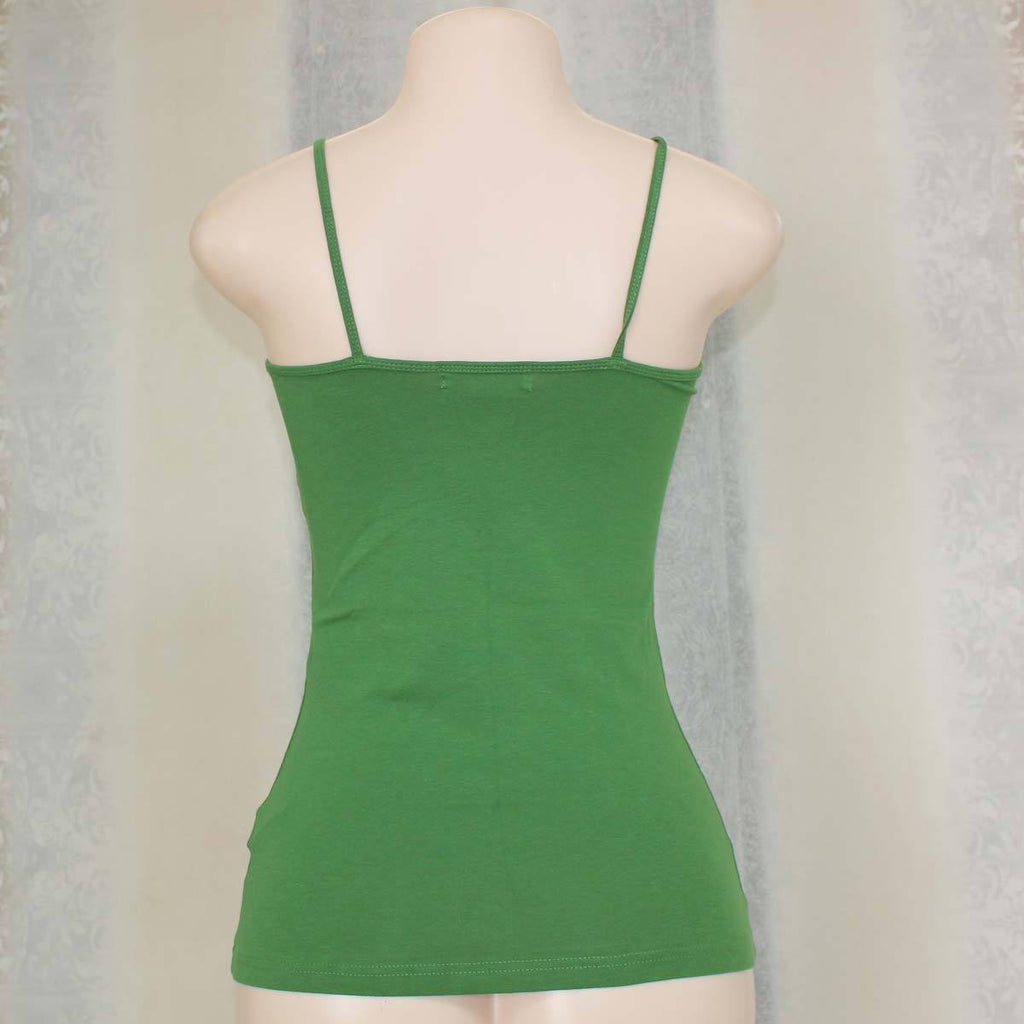 Green cotton spaghetti top