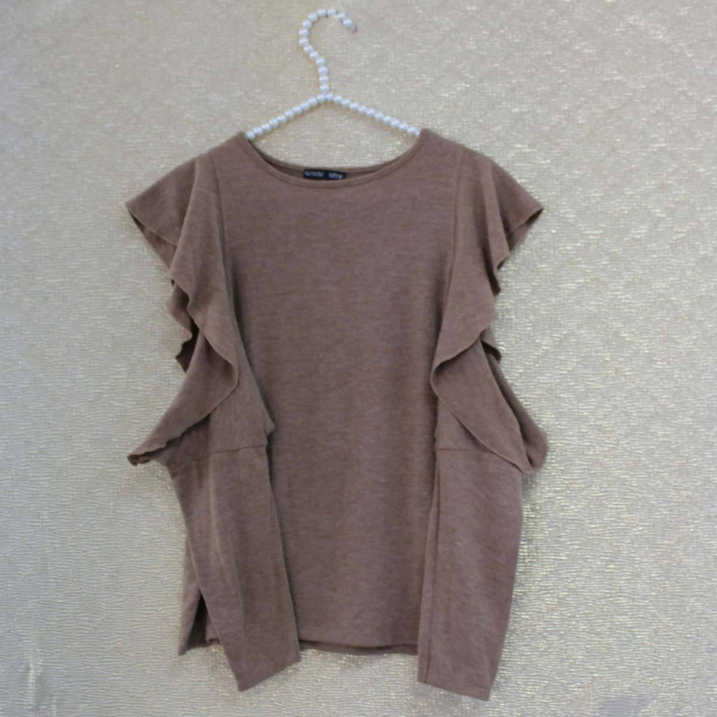 Brown kneated cold shoulder top