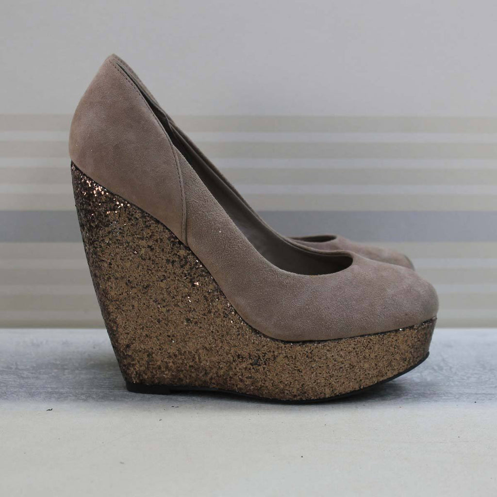 Grey Glitter wedge