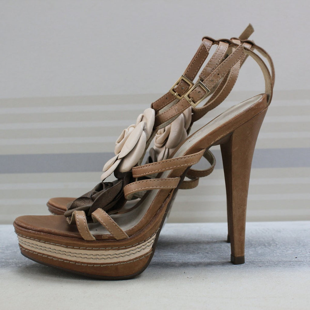 Brown Leather Strappy heel