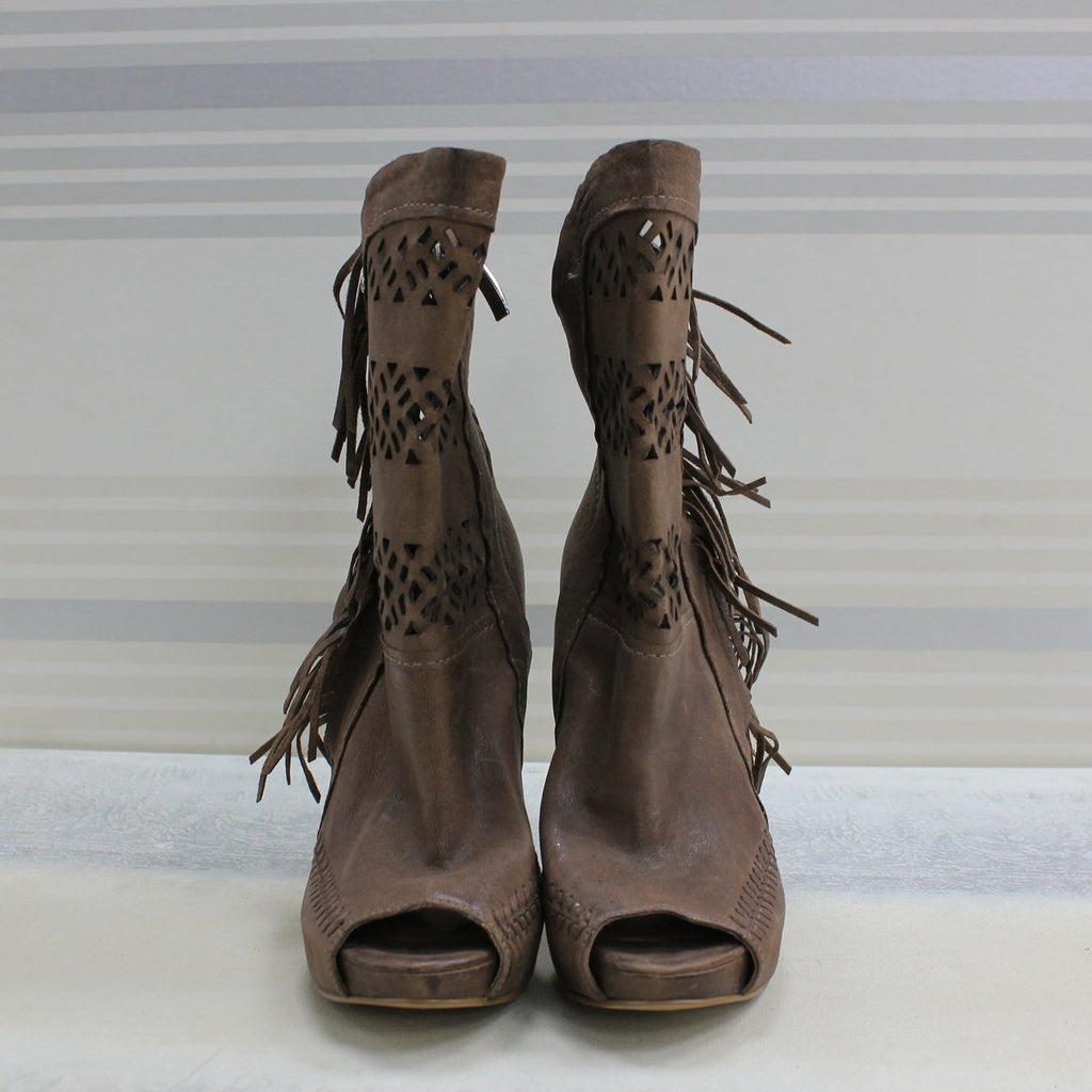 Brown Peep toe boot
