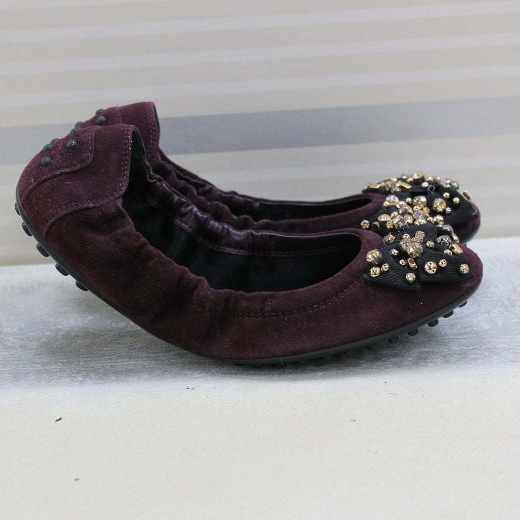 Maroon tretch suede doll shoes