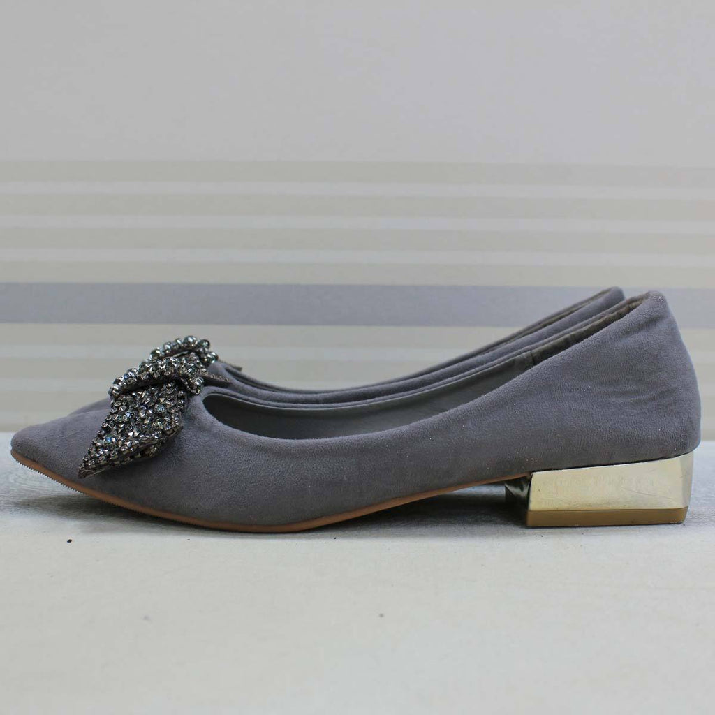 Grey suede doll shoes