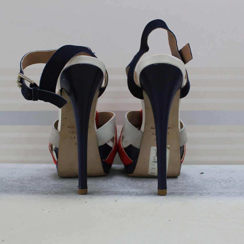 Navy Blue, White and Red sandals