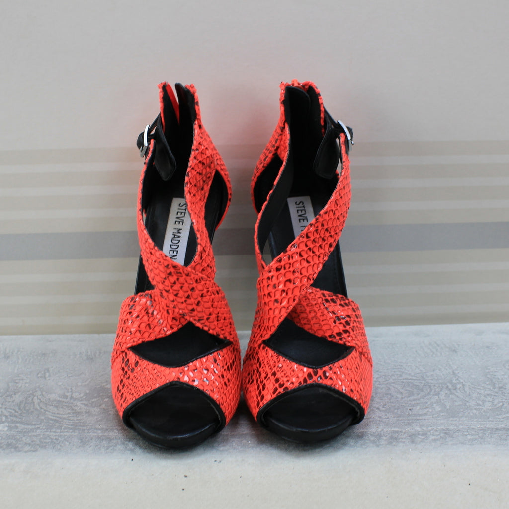 Black Orange sandal heel