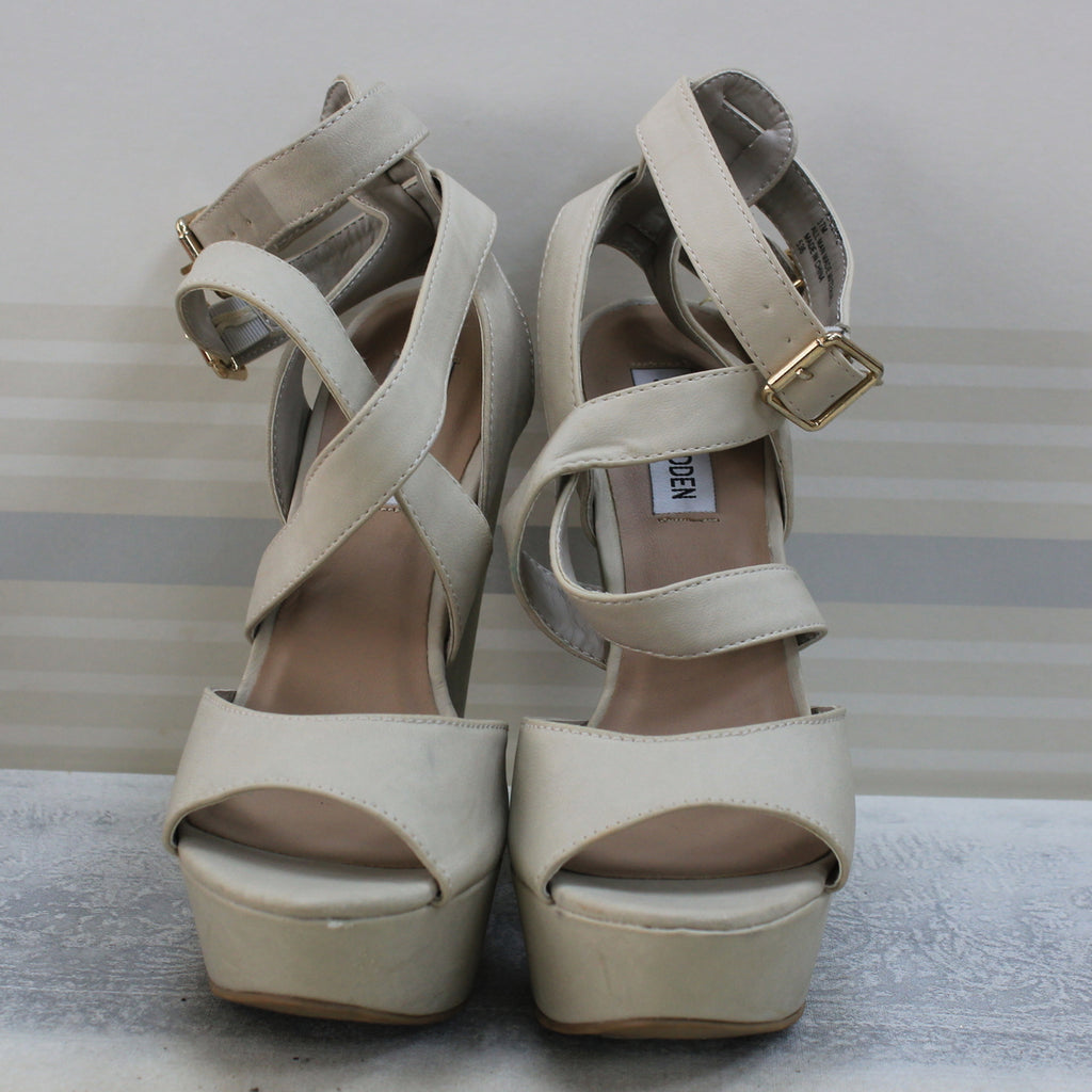 Cream strappy wedges