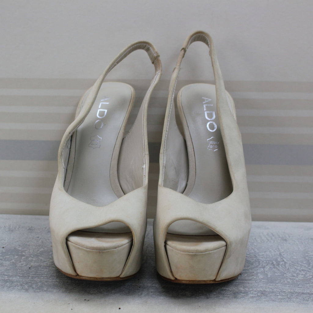 Cream open toe sandals